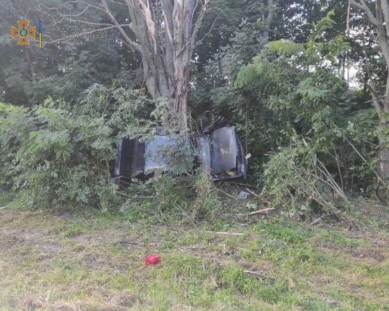 Перекинувся і врізався в дерево: на Бродівщині в ДТП травмувався водій